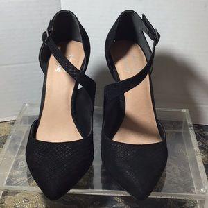 Free People, black suede heels, NEW